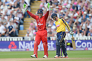 Jos Buttler celebrates the wicket of Liam Dawson during the NatWest T20 Blast Semi Final match between Hampshire County Cricket Club and Lancashire County Cricket Club at Edgbaston, Birmingham, United Kingdom on 29 August 2015. Photo by David Vokes.