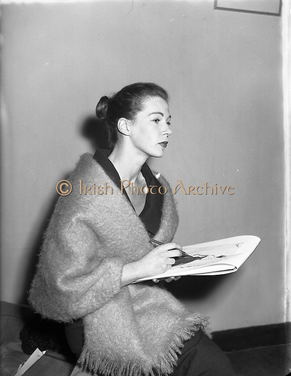 Clodagh Phipps, 18 Year old dress designer, first fashion show at Hibernian. <br /> <br /> 5th October 1956.<br /> <br /> 05/10/1956
