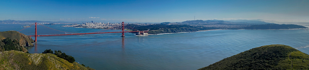 Panorama of Golden Gate Bridge and San Francisco, GGNRA. Marin Headlands, California