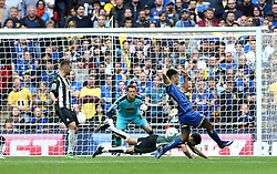 Lyle Taylor of AFC Wimbledon scores a goal to put his team infant in The League Two Playoff Final - Mandatory by-line: Robbie Stephenson/JMP - 30/05/2016 - FOOTBALL - Wembley Stadium - London, England - AFC Wimbledon v Plymouth Argyle - Sky Bet League Two Play-off Final