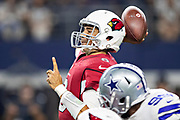 ARLINGTON, TX - AUGUST 26:  Charles Kanoff #6 of the Arizona Cardinals throws a pass during a game against the Dallas Cowboys at AT&T Stadium during week 3 of the preseason on August 26, 2018 in Arlington, Texas.  The Cardinals defeated the Cowboys 27-3.  (Photo by Wesley Hitt/Getty Images) *** Local Caption *** Charles Kanoff