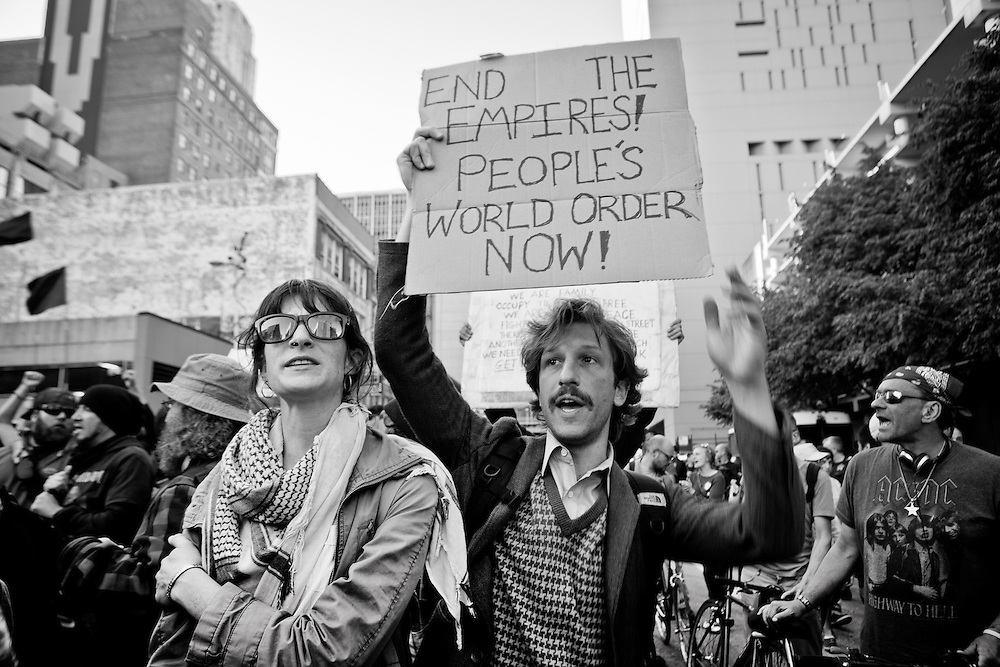 An Occupy Wall Street protester going by the name Jose 99% particiaptes in Anti-NATO protests in Chicago.