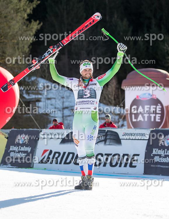30.01.2016, Kandahar, Garmisch Partenkirchen, GER, FIS Weltcup Ski Alpin, SuperG, Damen, Siegerpräsentation, im Bild Bostjan Kline (SLO, 2. Platz) // 2nd placed Bostjan Kline of Slovenia on podium during the winner presentation for the men's Downhill of Garmisch FIS Ski Alpine World Cup at the Kandahar course in Garmisch Partenkirchen, Germany on 2016/01/30. EXPA Pictures © 2016, PhotoCredit: EXPA/ Johann Groder