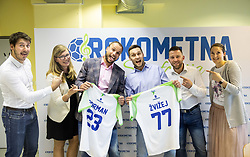 "Sportanzo organising team during press conference of handball event named ""Rokometna simfonija"" in honour of retirement of best Slovenian handball players Uros Zorman and Luka Zvizej, on April 14, 2019, in Arena Zlatorog, Celje, Slovenia. Photo by Vid Ponikvar / Sportida"
