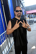 Ice T backstage at The 2009 Rock the Bells Concert presented by Guerilla Union in association with Budweiser and held at Jones Beach July 19, 2009 in Babylon, NY..Few events can claim to both capture and define a movement, yet this is precisely what Rock The Bells has done since its inception in 2003. Rock The Bells is more than a music festival. It has become a genuine rite of passage for thousands of core, social, conscious, and independent Hip Hop enthusiasts, and Hip Hop Heads Globally. ..Rock The Bells is the ultimate Hip Hop platform and premiere music experience in America. Rock The Bells has established a forum of unparalleled diversity and excellence by uniting the biggest names involved with urban culture.