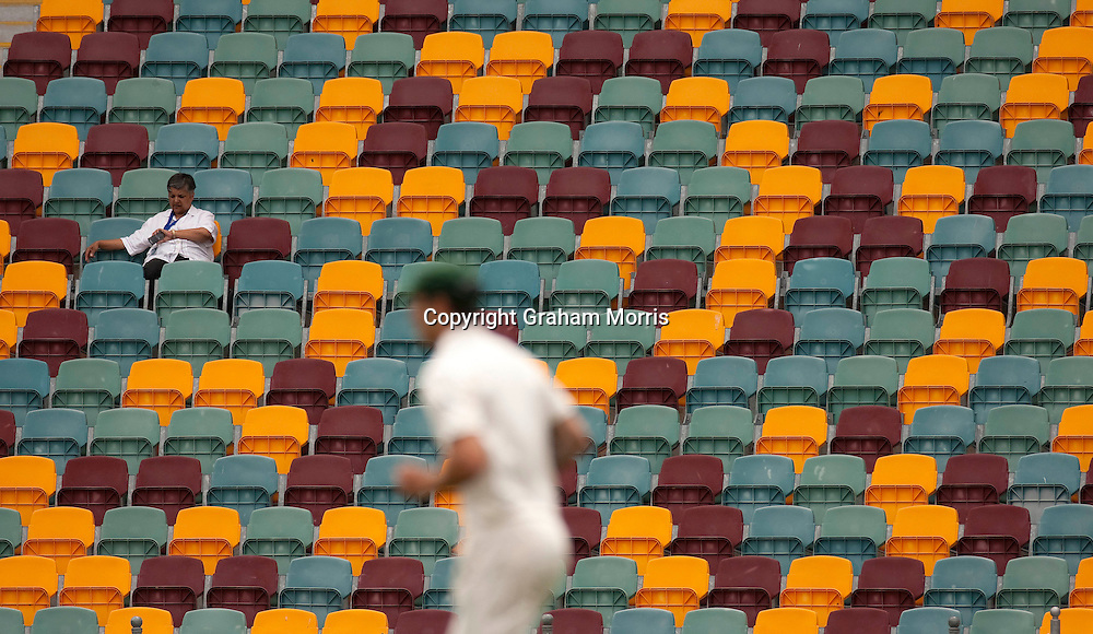 Seats left unsold during the opening day of the first Ashes Test Match between Australia and England at the Gabba, Brisbane. Photo: Graham Morris (Tel: +44(0)20 8969 4192 Email: sales@cricketpix.com) 25/11/10