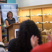 063015      Cayla Nimmo<br /> <br /> Governor Susana Martinez congratulates the tourism efforts in Grants at the Mining Museum Tuesday.