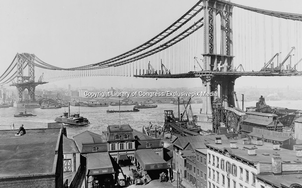 Historical Photos of The World's Most Iconic Landmarks Before They Were Finished<br /> <br /> The world's most iconic landmarks are a big draw for tourists from around the world. But these historical landmarks are not just tourist attractions, they often serve as a milestone in history or a remarkable event in time.<br /> <br /> Photo shows: Manhattan Bridge, 1909<br /> ©Library of Congress/Exclusivepix Media
