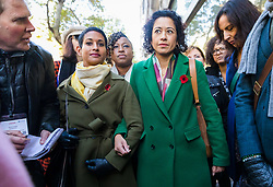 © Licensed to London News Pictures. 28/10/2019. London, UK. Television presenter, Samira Ahmed (R) with Naga Munchetty (L) arrives at the Central London Employment Tribunal to attend an equal pay case hearing against the BBC. Samira Ahmed, who presents Newswatch on BBC One and Radio 4's Front Row claims she was paid less than male colleagues for doing equivalent work under the Equal Pay Act. Photo credit: Vickie Flores/LNP