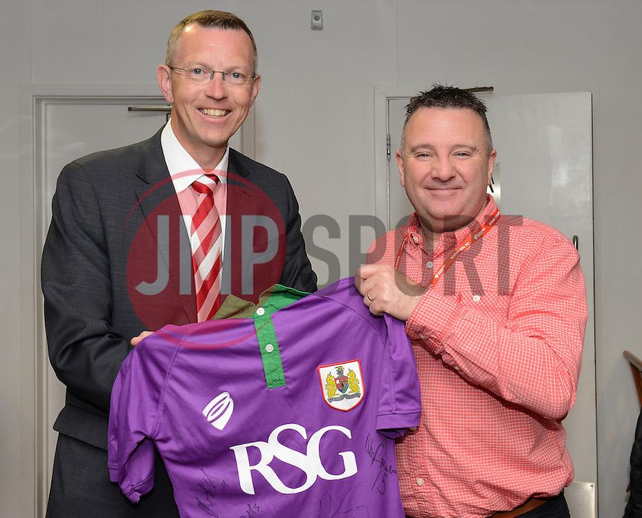 John Pelling presents a fan with a shirt  - Photo mandatory by-line: Dougie Allward/JMP - Mobile: 07966 386802 - 03/05/2015 - SPORT - Football - Bristol - Ashton Gate - Bristol City v Walsall - Sky Bet League One