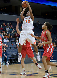 Virginia guard Monica Wright (22) elevates for a jump shot against Davidson.  The Virginia Cavaliers women's basketball team defeated the Davidson Wildcats 83-68 at the John Paul Jones Arena in Charlottesville, VA on December 20, 2007.