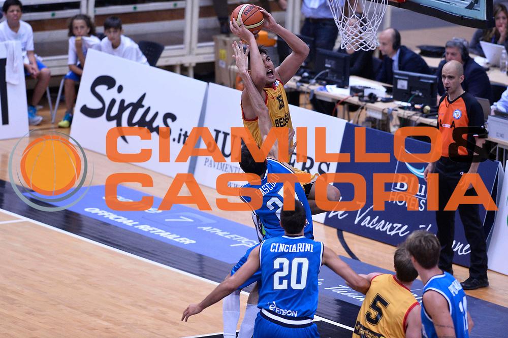 DESCRIZIONE : Trento Nazionale Italia Uomini Trentino Basket Cup Italia Belgio Italy Belgium<br /> GIOCATORE : Boukichou Khalid Davide Pascolo<br /> CATEGORIA : tiro difesa<br /> SQUADRA : Italia Italy Belgio Belgium<br /> EVENTO : Trentino Basket Cup<br /> GARA : Italia Belgio Italy Belgium<br /> DATA : 12/07/2014<br /> SPORT : Pallacanestro<br /> AUTORE : Agenzia Ciamillo-Castoria/GiulioCiamillo<br /> Galleria : FIP Nazionali 2014<br /> Fotonotizia : Trento Nazionale Italia Uomini Trentino Basket Cup Italia Belgio Italy Belgium