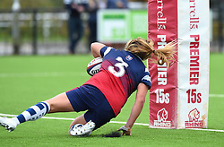 Sarah Bern of Bristol Bears Women scores a try to equalise against Wasps FC Ladies - Mandatory by-line: Paul Knight/JMP - 08/09/2018 - RUGBY - Shaftesbury Park - Bristol, England - Bristol Bears Women v Wasps FC Ladies - Tyrrells Premier 15s