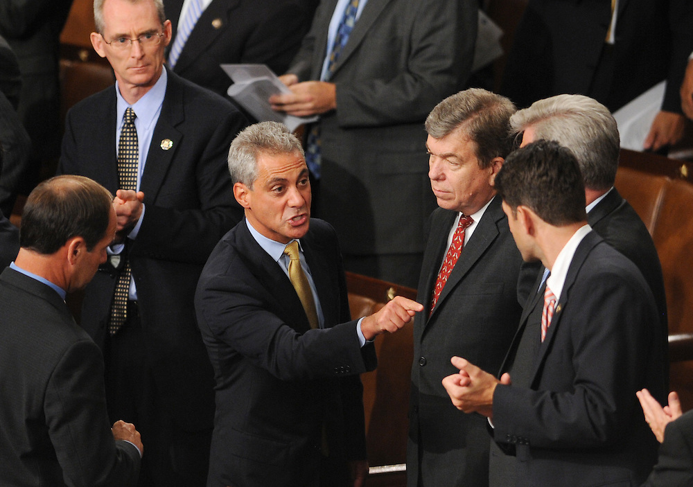 White House Chief of Staff of Staff Rahm Emanuel (L) shouts at a group of Republican lawmakers including Republican Representative Roy Blunt of Missouri (R) after US President Barack Obama (not pictured) was heckled as he delivered remarks on health-care to a joint session of Congress, on Capitol Hill in Washington, DC, USA, 09 September 2009. Obama is seeking to regain control of the health-care debate with a major speech to Congress after his plans to overhaul the nation's health insurance system stalled in recent weeks.