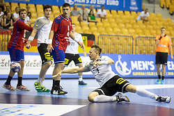 Luca Witzke of Germany during handball match between National teams of Serbia and Germany in Main Round of 2018 EHF U20 Men's European Championship, on July 25, 2018 in Arena Zlatorog, Celje, Slovenia. Photo by Urban Urbanc / Sportida