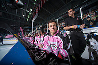 KELOWNA, CANADA - OCTOBER 20: Filip Vasko #10 sits of the Kelowna Rockets sits on the bench opposite the  Brandon Wheat Kings at the Kelowna Rockets on October 20, 2012 at Prospera Place in Kelowna, British Columbia, Canada (Photo by Marissa Baecker/Shoot the Breeze) *** Local Caption ***