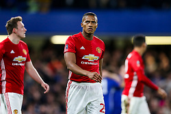 Luis Antonio Valencia of Manchester United looks dejected after Ngolo Kante of Chelsea scores a goal to make it more 1-0 - Rogan Thomson/JMP - 13/03/2017 - FOOTBALL - Stamford Bridge - London, England - Chelsea v Manchester United - FA Cup Quarter Final..