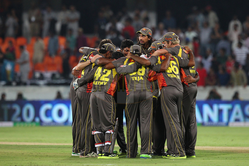 The Sunrisers celebrate the win during match 3 of of the Pepsi Indian Premier League between The Sunrisers Hyderabad and The Pune Warriors held at the Rajiv Gandhi International  Stadium, Hyderabad  on the 5th April 2013..Photo by Ron Gaunt-IPL-SPORTZPICS..Use of this image is subject to the terms and conditions as outlined by the BCCI. These terms can be found by following this link:..http://www.sportzpics.co.za/image/I0000SoRagM2cIEc