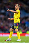 Dries Mertens (#14) of Belgium watches as his free kick is saved during the International Friendly match between Scotland and Belgium at Hampden Park, Glasgow, United Kingdom on 7 September 2018.