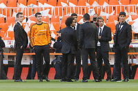Real Madrid´s Morata, Marcelo, Coentrao and Cristiano Ronaldo before the Spanish Copa del Rey `King´s Cup´ final soccer match between Real Madrid and F.C. Barcelona at Mestalla stadium, in Valencia, Spain. April 16, 2014. (ALTERPHOTOS/Victor Blanco)
