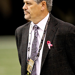 October 3, 2010; New Orleans, LA, USA; New Orleans Saints general manager Mickey Loomis on the field during warm ups prior to kickoff of a game between the New Orleans Saints and the Carolina Panthers at the Louisiana Superdome. Mandatory Credit: Derick E. Hingle