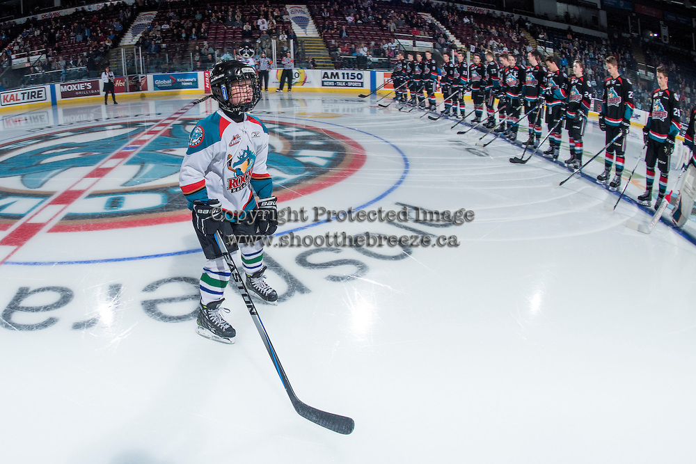 KELOWNA, CANADA - SEPTEMBER 24: The Pepsi Player skates to the blue line with the the Kelowna Rockets against the Kamloops Blazers on September 24, 2016 at Prospera Place in Kelowna, British Columbia, Canada.  (Photo by Marissa Baecker/Shoot the Breeze)  *** Local Caption *** Pepsi Player;