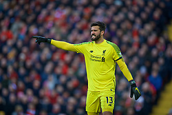 LIVERPOOL, ENGLAND - Saturday, February 9, 2019: Liverpool's goalkeeper Alisson Becker during the FA Premier League match between Liverpool FC and AFC Bournemouth at Anfield. (Pic by David Rawcliffe/Propaganda)