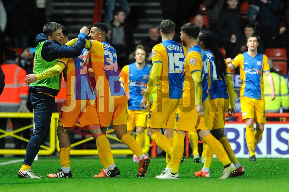 Greg Cunningham of Preston North End celebrates with his team mates after scoring - Mandatory byline: Dougie Allward/JMP - 12/01/2016 - FOOTBALL - Ashton Gate - Bristol, England - Bristol City v Preston North End - Sky Bet Championship