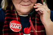 WASHINGTON, DC - February 1:  A volunteer makes calls to potential Rand Paul voters at his Des Moines headquarters on February 1, 2016 in Des Moines, Iowa. The Presidential hopeful visited the headquaters to thank all the staff and volunteers for all their hard work in Iowa. (Photo by Pete Marovich/Getty Images)