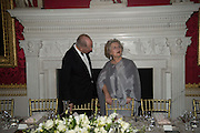 LORD ROTHSCHILD; ANNA SOMERS COCKS, Professor Mikhail Piotrovsky Director of the State Hermitage Museum, St. Petersburg and <br /> Inna Bazhenova Founder of In Artibus and the new owner of the Art Newspaper worldwide<br /> host THE HERMITAGE FOUNDATION GALA BANQUET<br /> GALA DINNER <br /> Spencer House, St. James's Place, London<br /> 15 April 2015