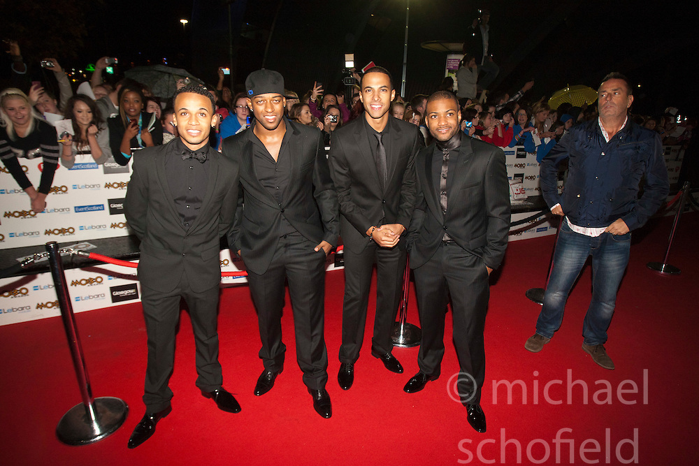 JB Gill, Oritse Williams, Marvin Humes and Aston Merrygold from the boy band JLS..Arrivals on the red carpet at the MOBO Awards 2011 at the SECC on October 5, 2011 in Glasgow, Scotland..Pic © Michael Schofield.