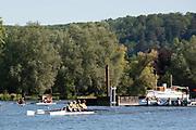 Henley on Thames, England, United Kingdom,  Saturday,  22.06.19,   GV, crews gather below the Start, Henley Women's Regatta, Henley Reach,  Karon PHILLIPS/Intersport Images,<br /> , <br /> 09:26:17