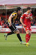 Louis Dodds shoots to put Port Vale 2 nil up during the Sky Bet League 1 match between Crawley Town and Port Vale at Broadfield Stadium, Crawley, England on 20 December 2014. Photo by Stuart Butcher.
