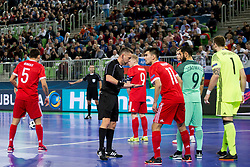 Artem Niyazov of Russia and Joao Matos of Portugal during futsal semifinal match between National teams of Russia and Portugal at Day 9 of UEFA Futsal EURO 2018, on February 8, 2018 in Arena Stozice, Ljubljana, Slovenia. Photo by Urban Urbanc / Sportida