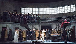 © Licensed to London News Pictures. 20/05/2013. Welsh National Opera present Wagner's Lohengrin, in a co-production with Theatr Wielki, Warsaw. Wales Millennium Centre, Cardiff. Featuring Emma Bell (Elsa von Brabant), Daniel Williams (Swan & Brabant), Susan Bickley (Ortrud). Photo credit: Tony Nandi/LNP.