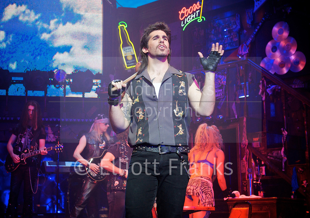 Rock of Ages<br /> by Chris D'Arienzo<br /> directed by Kristin Hanggi<br /> Choreography by Kelly Devine<br /> Press photocall<br /> 14th September 2011 <br /> at The Shaftesbury Theatre, London, Great Britain <br /> <br /> <br /> Simon Lipkin (as Lonny)<br /> <br /> Photograph by Elliott Franks