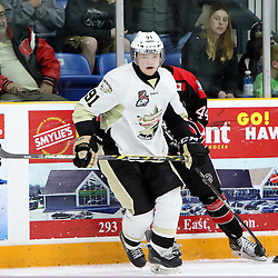 TRENTON, ON - Apr 18, 2016 -  Ontario Junior Hockey League game action between Trenton Golden Hawks and the Georgetown Raiders. Game 3 of the Buckland Cup Championship Series, at the Duncan Memorial Gardens in Trenton, Ontario. Mac Lewis #91 of the Trenton Golden Hawks during the second period<br /> (Photo by Ed McPherson / OJHL Images)