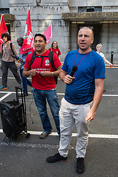 London, UK. 12 July, 2019. Henry Chango Lopez (l), President, and Jason Moyer-Lee (r), General Secretary, of the IWGB (Independent Workers of Great Britain) trade union protest with outsourced workers based at the University of London outside Senate House after failing to arrange a meeting with the university's new Vice-Chancellor Wendy Thomson. Credit: Mark Kerrison/Alamy Live News