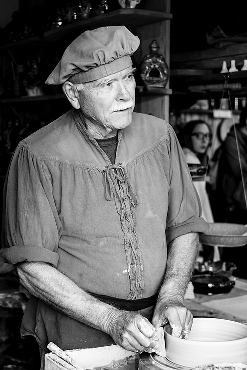 Potter demonstrating his craftsmanship at the 2016 Carolina Renaissance Festival.