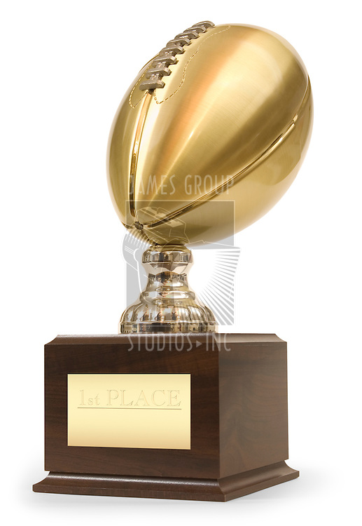 Gold football trophy isolated on white with clipping path
