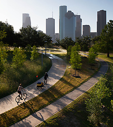 Hike and Bike Trail on Buffalo Bayou with downtown skyline of Houston, Texas.