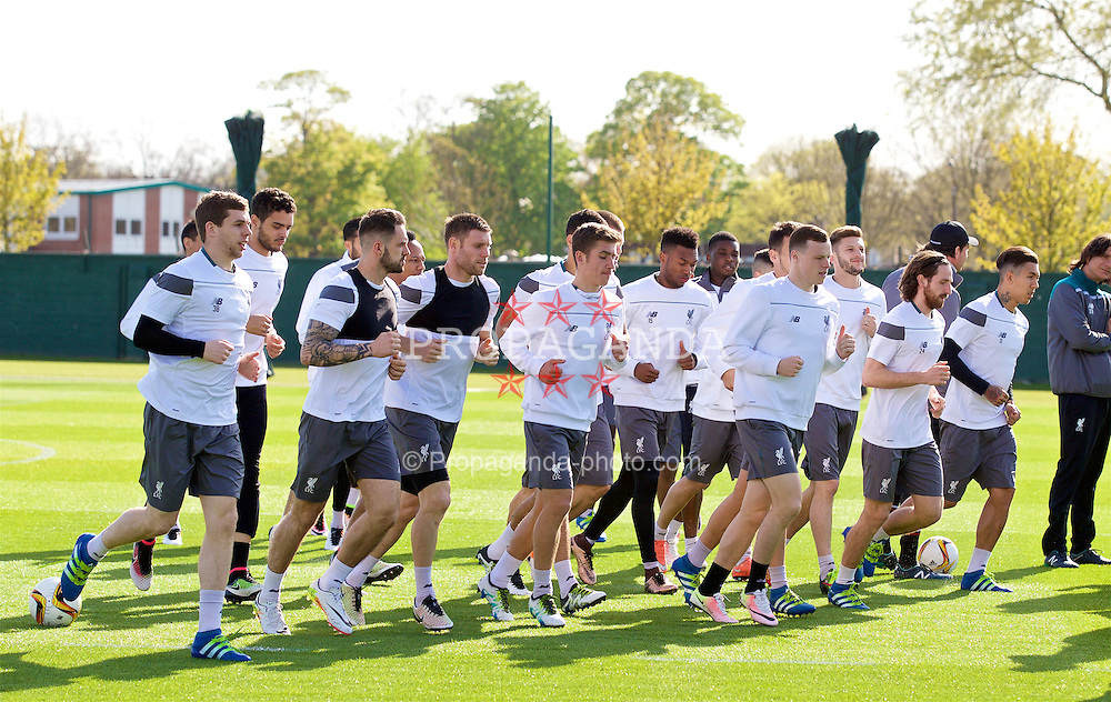 LIVERPOOL, ENGLAND - Wednesday, May 4, 2016: Liverpool players during a training session at Melwood Training Ground ahead of the UEFA Europa League Semi-Final 2nd Leg match against Villarreal CF. Jon Flanagan, Danny Ings, James Milner, Cameron Brannagan, Daniel Sturridge, Brad Smith, Adam Lallana, Joe Allen, Roberto Firmino.(Pic by David Rawcliffe/Propaganda)