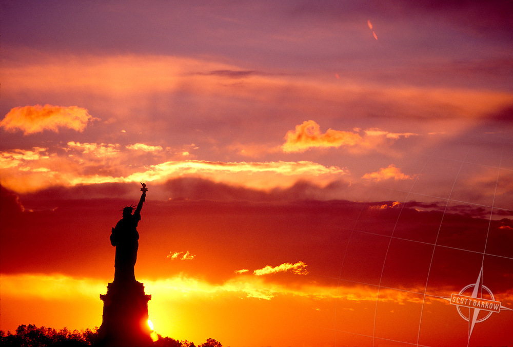 Statue of Liberty at dusk or dawn