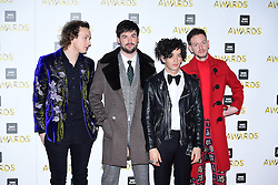 Adam Hann, Matthew Healy, George Daniel, and Ross MacDonald of The 1975 attending the BBC Music Awards at the Royal Victoria Dock, London. PRESS ASSOCIATION Photo. Picture date: Monday 12th December, 2016. See PA Story SHOWBIZ Music. Photo credit should read: Ian West/PA Wire