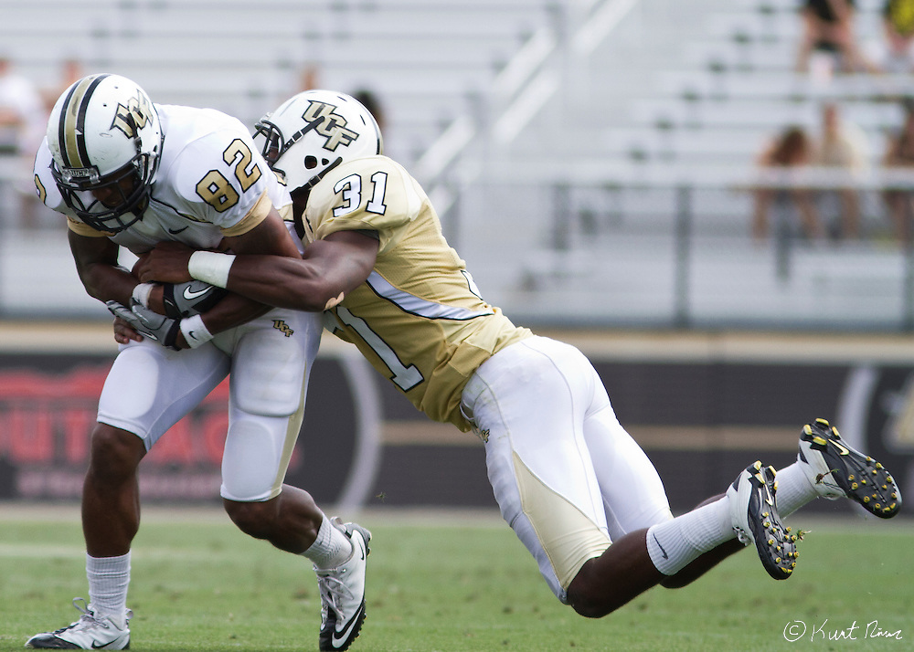 UCF wide receiver Khymest Williams (82) and  Cornelius Whitehead (31) during the Spring Football Game at Bright House Stadium, Orlando, FL on April 16, 2011.  ..