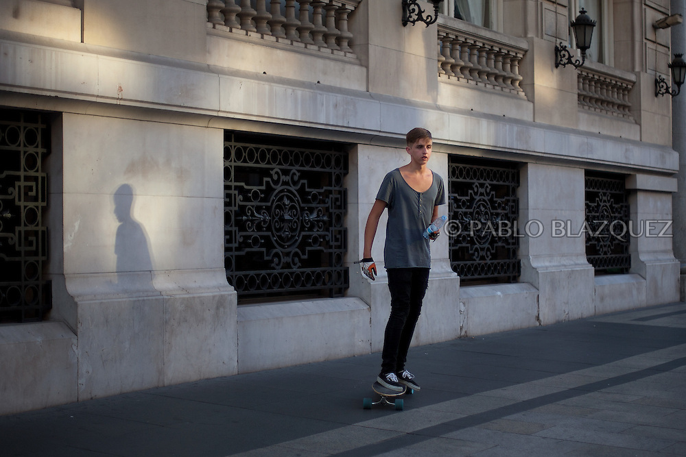 A skater rides in Madrid City Center on July 17, 2012, Spain.