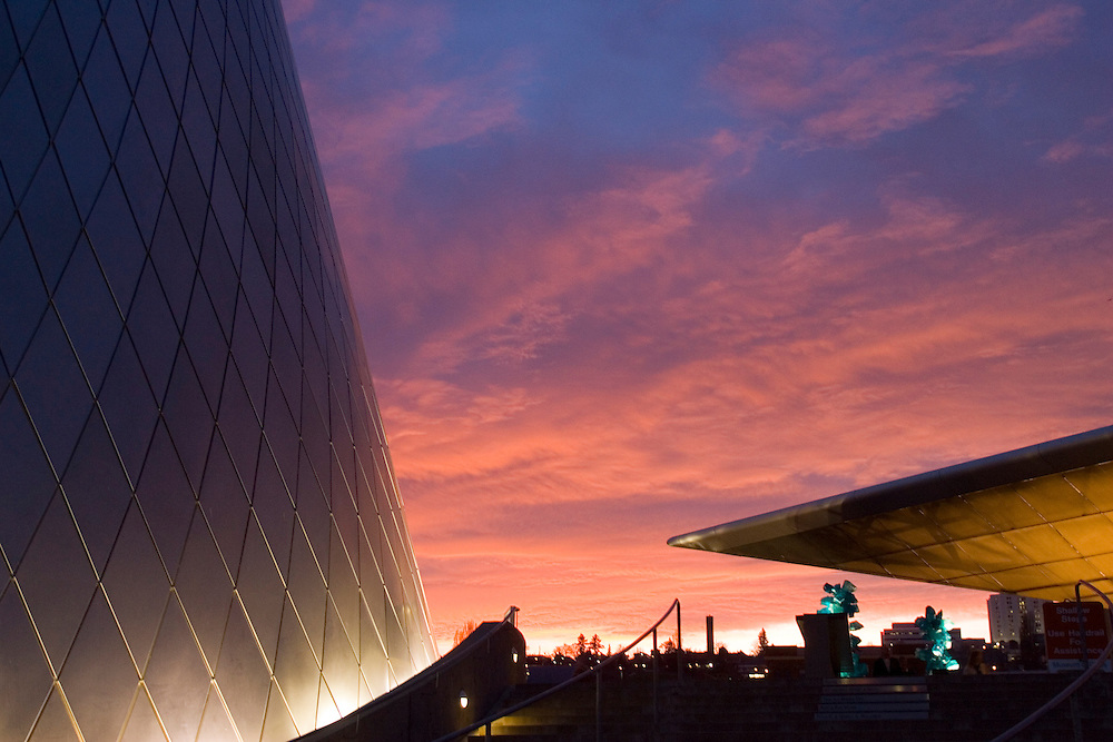 Museum of Glass, and Chihuly Bridge of Glass at sunset, Tacoma, Washington, USA
