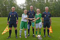 Captains before the Republic of Ireland  v Northern Ireland fixture as part of the UEFA Women&rsquo;s U16 Tournament at United park Westport.<br /> Pic Conor McKeown