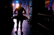 Dancers from from the True Dance Academy wait to go on stage at  the New York Dance Alliance's national competition finale July 5, 2005 in New York City.<br />
