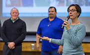 Houston ISD Trustee Anna Eastman comments during a Bond community meeting at Waltrip High School School, February 9, 2016.